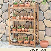 Blumentreppen Pflanzen blumentopf display-ständer garten kiefernständer innen multifunktions-blumenständer mit zaun blumenständer blumentreppen ( größe : 70*28*110cm )