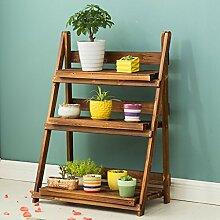Blumentreppen Wooden Flower Rack / Indoor und Outdoor Pflanze Stand / 3 Floor Floor Leiter / Falten Blumentopf Rack / Pflanze Flower Display Stand blumentreppen ( größe : 96*70*39cm )
