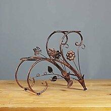 Blumenzahnstange Balkon-Wohnzimmer-Eisen-mehrstöckiger Fußboden Mehrblumeblumentöpfe-Innenpflanze-Gestelle Blaue Orchideen-Blumen-Regal ( Farbe : Braun )