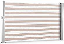 Blumfeldt Bari 318 • Seitenmarkise • Standmarkise • Seitenrollo • Sichtschutz • Sonnenschutz • Polyester 300 x 180 cm • ausziehbar • wasserabweisend • UV-beständig • selbstspannend • Rückholfeder • Aluminiumgehäuse • pulverbeschichtet • creme-weiß