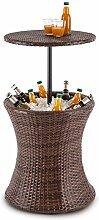Blumfeldt Beerboy • Gartentisch • Beistelltisch • Stehtisch • Getränkekühler • für Pool, Garten-Teich, Balkon oder Terrasse • höhenverstellbare Tischplatte • 50 cm Durchmesser • Polyrattan • Korbflecht-Optik • wetterfest • Edelstahlwanne • braun