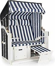 Blumfeldt Hiddensee Strandkorb XL • Strandstuhl • 2-Sitzer • Volllieger • 5-stufig absenkbare Haube • ausziehbare Fußstützen mit Polster • 2 Nackenkissen • Klapptische • Kiefernholz • witterungsbeständiger PE-Rattan • Innenpolster aus Polyester • blau-weiß