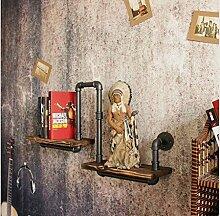 BLYC- Amerikanische Oldtimer Schmiede-eisernen Rohr Regal Wand Regale solide Holz Doppelzimmer Bad rack