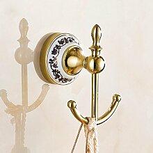 BLYC- Europäischen Stil Wand-Europäische vergoldet Edelstahl Haken mit blauen und weißen Porzellan Kleiderhaken