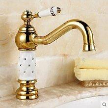 BLYC- Europäisches Gold/Silber/Rose gold blaue und weiße Porzellan Mischen von heiß und kalt Wasserhahn , golden