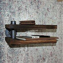 BLYC- Vintage American Land solide Holz doppelt LOFT Stil Eisen industriellen Rohr Regal Badezimmer Wandregal 30 * 15 * 20 cm