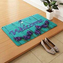 BMKY Fußmatten Eingangstür-Hirtenart-blauer Matten-Haus-willkommener Fuß-Schritt-Matratze-Blumen-rutschfeste Fuß-Auflage ( größe : 50*80cm )