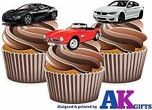 BMW Car LOT DE 12 DÉCORATIONS COMESTIBLES EN GAUFRETTE POUR CUPCAKES
