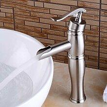 BOAOTX Waschtischarmatur Wasserfall Gebürstet