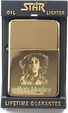 Bob Marley Genius Star Gold Benzin Feuerzeug (T15)