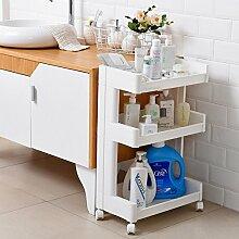 BOBE SHOP- Badezimmergestelle-Gap-Aufbewahrungsschrank, schmaler Aufbewahrungsschrank mit Rad, Multilayer-Kunststoff-Badezimmer-Küchenregal, Breite 26cm / 32cm ( Farbe : #1 , größe : Drei Schichten )
