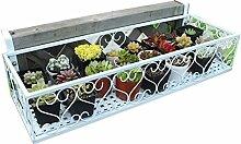BOBE SHOP- European - Style Iron Hanging Balkon Geländer Blume Racks Mehr Fleisch Pflanze Flower Stand Modern Simple Outdoor Potted Frame (Farbe : Weiß, größe : 120*20*12cm)