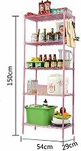 BOBE SHOP- Küche Regal Metall Boden Lagerung Regal Fünf Bad Bad Sanitär Ware Lagerung Regal ( Farbe : Pink )