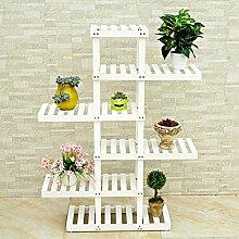 BOBE SHOP- Massivholz Landung Mehrere Schichten Töpfe Regal Balkon Wohnzimmer Indoor Woody Flower Racks ( Farbe : Weiß , größe : 125cm )