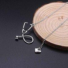 Bobury Stethoskop Herz Anhänger Frauen Männer Halskette Schmuck Legierung Ketten Unisex Schmuck