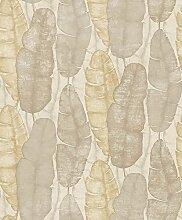 Boden beige Blätter grau, gelb und taupe antik