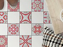 Bodenbelag Fliesen renovieren | Dekorativ-Dekorsticker Küchenfliesen Bad-Folie Badezimmergestaltung | 10x10 cm Muster Ornament Strawberry Cheese - 9 Stück