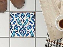 Bodenbelag Fliesen renovieren | Dekorativ-Dekorsticker Küchenfliesen Bad-Folie Badezimmergestaltung | 30x30 cm Muster Ornament Hamam-Vibes - 1 Stück