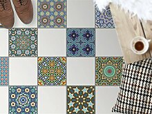 Bodenbelag Fliesen renovieren | Dekorativ-Dekorsticker Küchenfliesen Bad-Folie Badezimmergestaltung | 33,3x33, Muster Ornament Orientalisches Mosaik - 8 Stück