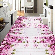 Bodenbelag-Tapete Aesthetic rosa des Blumen-3D 3D