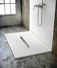 bodengleiche Duschwanne mit Duschrinne 140x100 aus