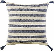 Bodenkissen aus Baumwolle, blau und ecrufarben