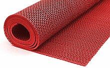 Bodenmatte in 3 Farben Saunaläufer Duschmatte Antirutschmatte Meterware 90 und 120 cm (90cm Rot)