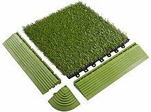 BodenMax® Kunstrasen Click Bodenfliesen Set 30 x 30 cm Terrassenfliesen Rasen Terrassenplatte Kunststoffrasen Fliese Gras Klickfliesen (Abschlussleisten männlich (14 Stück))