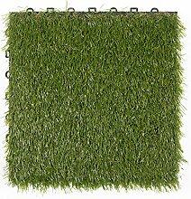 BodenMax® Kunstrasen Click Bodenfliesen Set 30 x 30 cm Terrassenfliesen Rasen Terrassenplatte Kunststoffrasen Fliese Gras Klickfliesen (8 Stück)