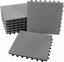 BodenMax® Sandstein Naturstein Click Bodenfliesen Set 30 x 30 cm Terrassenfliesen sand stone Terrassenplatte Stein Fliese anthrazit Klickfliesen grau (8 Stück)