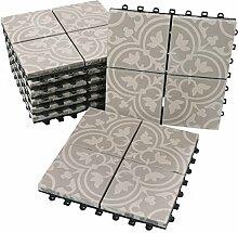 BodenMax® Zement Mosaik Click Bodenfliesen Set 30 x 30 cm Terrassenfliesen Terrassenplatte Fliese grau weiß Klickfliesen (8 Stück)