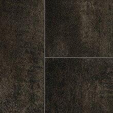 BODENMEISTER BM70510 PVC CV Vinyl Bodenbelag Auslegware Fliesenoptik Steinoptik 200, 300 und 400 cm Breit, anthrazit schwarz, 2 x 2 m