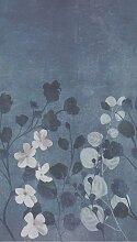 Bodenmeister Fototapete Betonwand Blumen blau B/L: