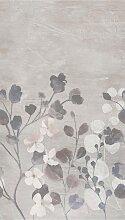 Bodenmeister Fototapete Betonwand Blumen grau B/L: