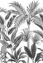 Bodenmeister Fototapete Dschungel Blätter schwarz