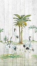 Bodenmeister Fototapete Vögel Palmen Holzwand