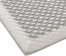 BODENMEISTER Sisal-Optik In- und Outdoor-Teppich Flachgewebe modern hochwertige Bordüre, verschiedene Farben und Größen, Variante: natur weiss, 67x133