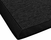 BODENMEISTER Sisal-Optik In- und Outdoor-Teppich Flachgewebe modern hochwertige Bordüre, verschiedene Farben und Größen, Variante: schwarz anthrazit, 80x150