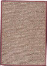 BODENMEISTER Sisal-Optik In- und Outdoor-Teppich Flachgewebe modern hochwertige Bordüre, verschiedene Farben und Größen, Variante: rot terra, 80x150