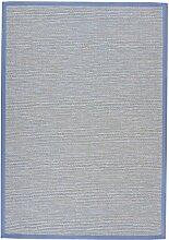 BODENMEISTER Sisal-Optik In- und Outdoor-Teppich Flachgewebe modern hochwertige Bordüre, verschiedene Farben und Größen, Variante: hell-blau, 67x133