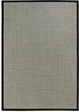 BODENMEISTER Sisal-Teppich modern hochwertige Bordüre Flachgewebe, verschiedene Farben und Größen, Variante: schwarz beige natur, 120x170