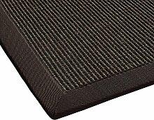 BODENMEISTER Sisal-Teppich modern hochwertige Bordüre Flachgewebe, verschiedene Farben und Größen, Variante: dunkel-braun, 80x150