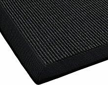 BODENMEISTER Sisal-Teppich modern hochwertige Bordüre Flachgewebe, verschiedene Farben und Größen, Variante: schwarz anthrazit, 133x190