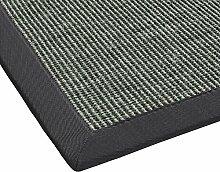 BODENMEISTER Sisal-Teppich modern hochwertige Bordüre Flachgewebe, verschiedene Farben und Größen, Variante: anthrazit dunkel-grau, 133x190