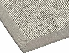 BODENMEISTER Sisal-Teppich modern hochwertige Bordüre Flachgewebe, verschiedene Farben und Größen, Variante: grau weiss natur, 60x110