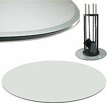 Bodenplatte Klarglas Ø 60cm rund Funkenschutz Glasplatte Kaminplatte Glasboden