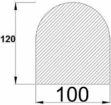 Bodenplatte Stahl grau Halbrund 1200x1000x2 mm Kaminofen/Holzofen Hitzebeständig einbrennlackiert Senotherm