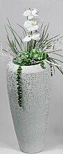 Bodenvase WINTERWEISS konisch rund H. 60cm weiß