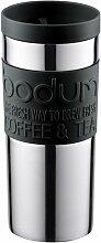 Bodum 11093-01 Travel mug, 0.35 L, Reisebecher Edelstahl 8.5 x 8.5 x 18 cm, schwarz