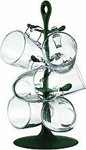 Bodum K2110-946-Y17 Set Becherbaum (mit 6 Glastassen, 10,5 x 7,5 x 9 cm) dunkelgrün